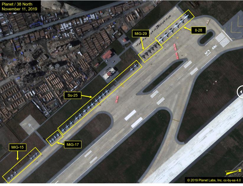 Концентрация на над 80 самолети от ВВС на КНДР на летище Вонсан