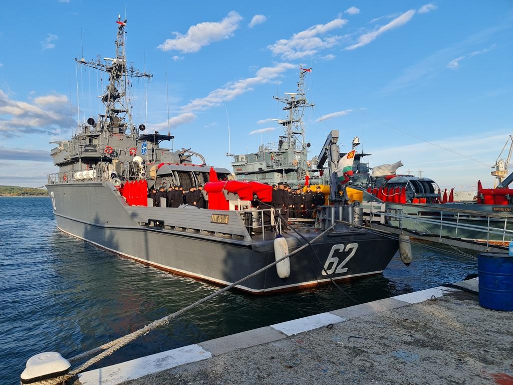 """Базов миночистач 62 """"Шквал"""" отплава за участие във Втората постоянна противоминна група на НАТО (SNMCMG2)"""