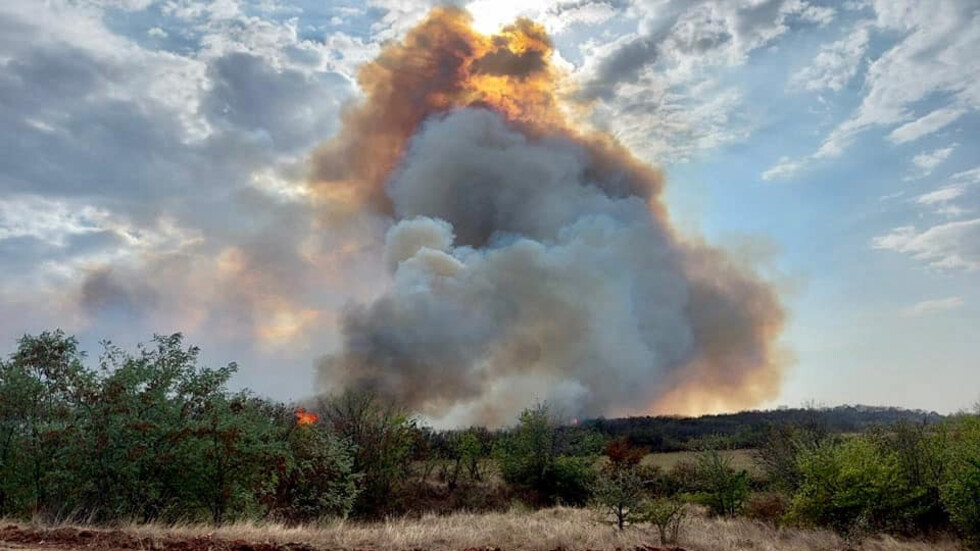 ГОРЕЩО: Големият пожар край радневското село Полски Градец засегна техника на База КУН на българските ВВС