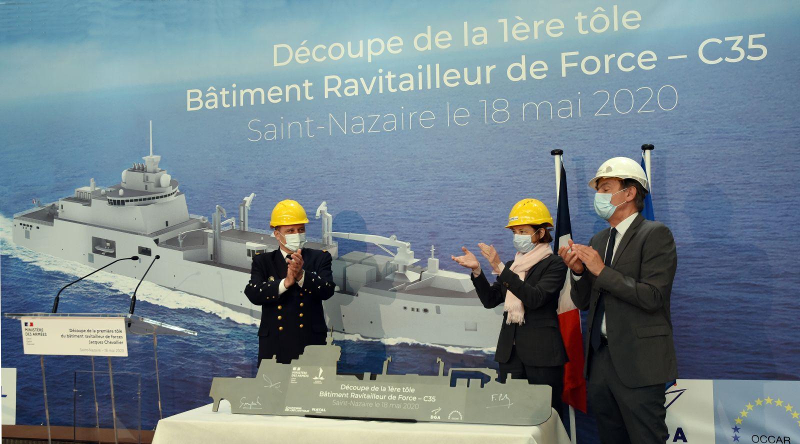 Нов снабдителен кораб за ВМС на Франция бе заложен в Chantiers de l'Atlantique, в сътрудничество с Naval Group (снимка, графика)