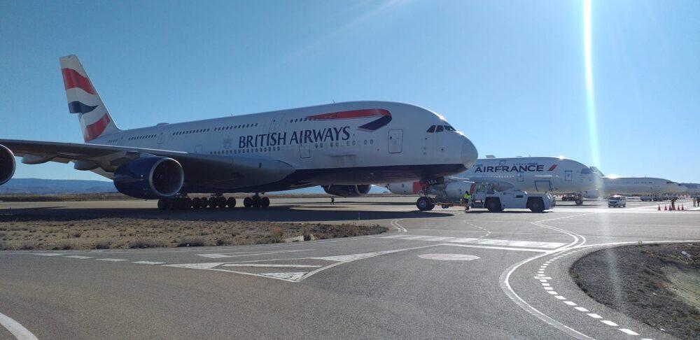 """Първите A380 на British Airways пристигнаха в Теруел, испанското """"гробище"""" на самолети"""
