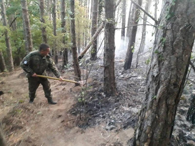 Военнослужещи от 61-Стрямска бригада и вертолет AS532AL Cougar гасиха пожара, възникнал в гората над гр. Карлово