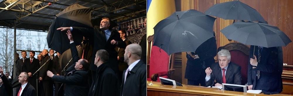 Телохранителите на Путин винаги носят чадъри независимо от времето. Защо?